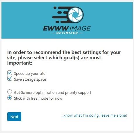 EWWW Image Optimizerの最初の画面