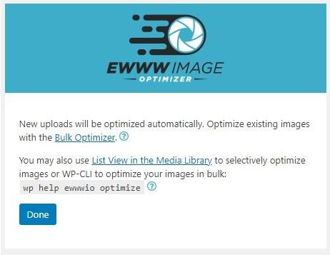 EWWW Image Optimizerの初期設定終了画面