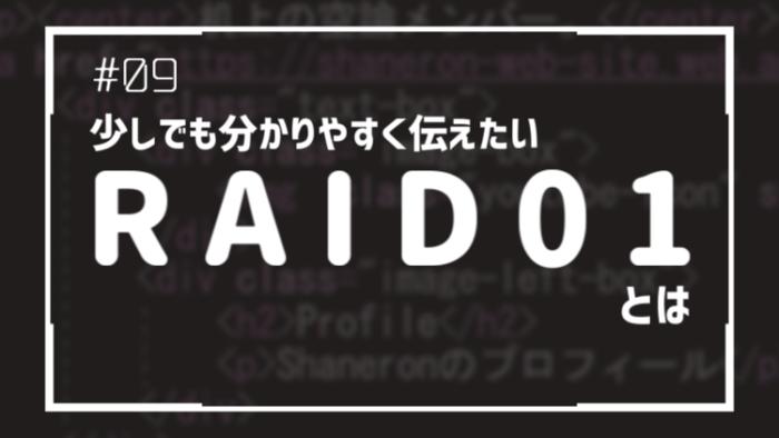 少しでも分かりやすく伝えたい RAID 01